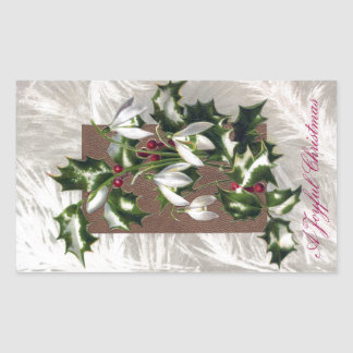Snowdrops and Holly Vintage Christmas Rectangular Stickers
