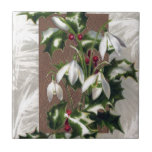 Snowdrops and Holly Vintage Christmas Ceramic Tiles