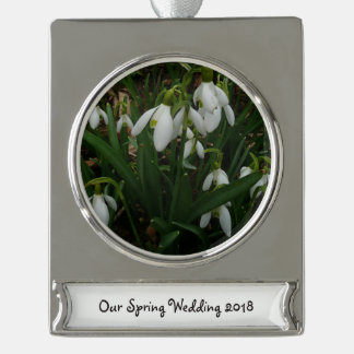 Snowdrops I (Galanthus) White Spring Flowers Silver Plated Banner Ornament