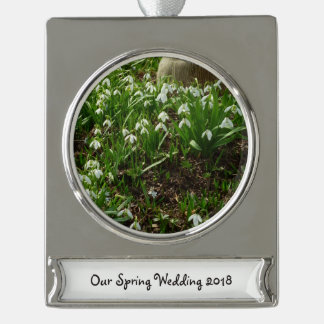 Snowdrops II (Galanthus) White Spring Flowers Silver Plated Banner Ornament