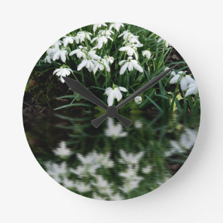 Snowdrops in reflection wallclocks