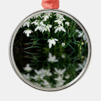 Snowdrops in reflection metal ornament
