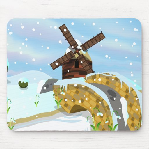 Snowdrops windmill mouse pad