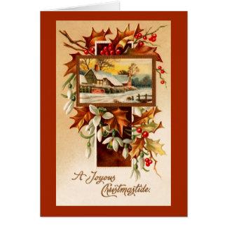Snowdrops y navidad del vintage de las bayas del tarjeta de felicitación