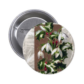 Snowdrops y navidad del vintage del acebo pin redondo de 2 pulgadas