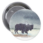 Snowdusted Bison Pin