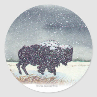 Snowdusted Bison Watercolor Painting Classic Round Sticker