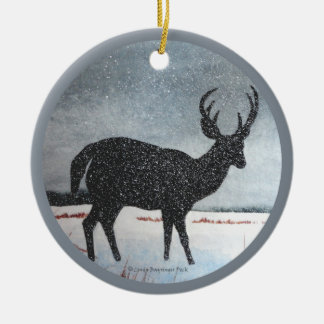 Snowdusted Deer Christmas Ornaments