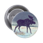 Snowdusted Moose Pinback Buttons
