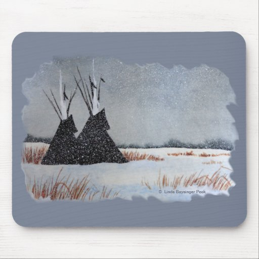 Snowdusted Tipis Mouse Pad