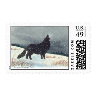 Snowdusted Wolf Silhouette Painting Postage