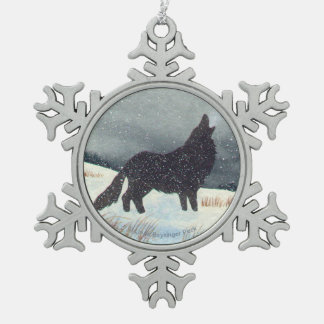 Snowdusted Wolf Snowflake Pewter Christmas Ornament
