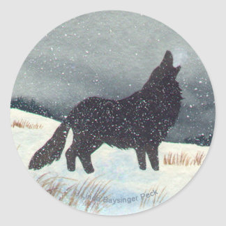 Snowdusted Wolf Classic Round Sticker