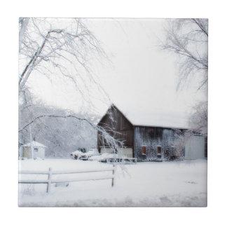 Snowed in Christmas Barn Ceramic Tile