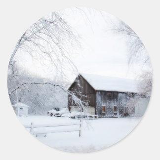 Snowed in Christmas Barn Classic Round Sticker