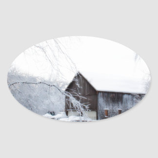 Snowed in Christmas Barn Oval Sticker