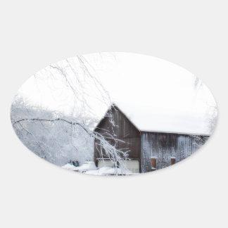 Snowed in Christmas Barn Oval Sticker