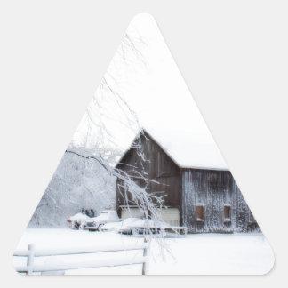 Snowed in Christmas Barn Triangle Sticker