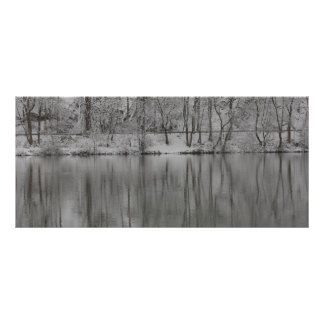 snowed trees reflected by the river rack card