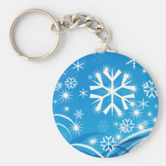 Snowfall Basic Round Button Keychain