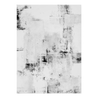 'Snowfall' Black and White Abstract Ar Poster