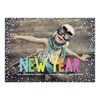 Snowfall Colorful Happy New Year Holiday Photo Card