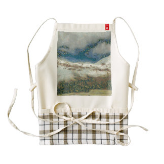 Snowfall in a mountainous area zazzle HEART apron