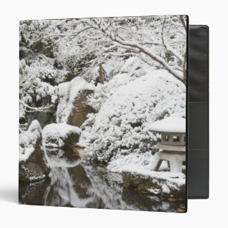 Snowfall in Portland Japanese Garden, 2 3 Ring Binder