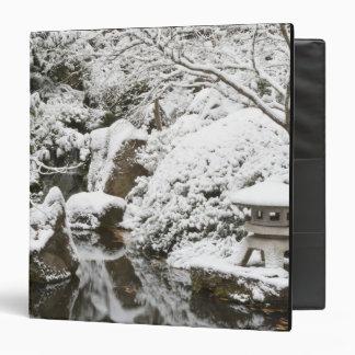 Snowfall in Portland Japanese Garden, 2 3 Ring Binder