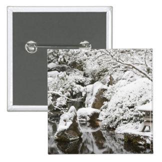 Snowfall in Portland Japanese Garden, 2 Button