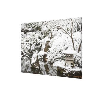 Snowfall in Portland Japanese Garden, 2 Canvas Print