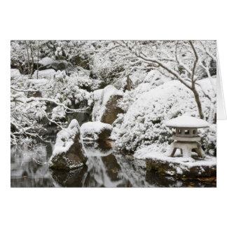 Snowfall in Portland Japanese Garden, 2 Card