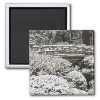 Snowfall in Portland Japanese Garden, 2 Inch Square Magnet