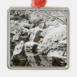 Snowfall in Portland Japanese Garden, 2 Metal Ornament