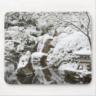 Snowfall in Portland Japanese Garden, 2 Mouse Pad