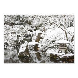 Snowfall in Portland Japanese Garden, 2 Photo Print
