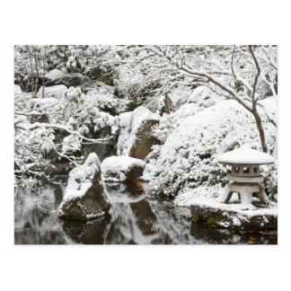 Snowfall in Portland Japanese Garden, 2 Postcard
