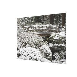 Snowfall in Portland Japanese Garden, Canvas Print