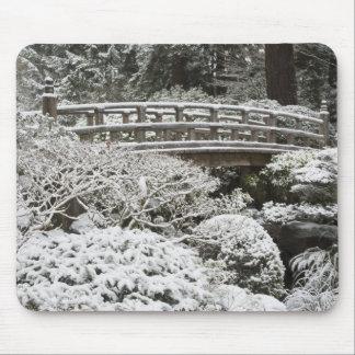 Snowfall in Portland Japanese Garden, Mouse Pad