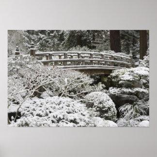 Snowfall in Portland Japanese Garden, Poster