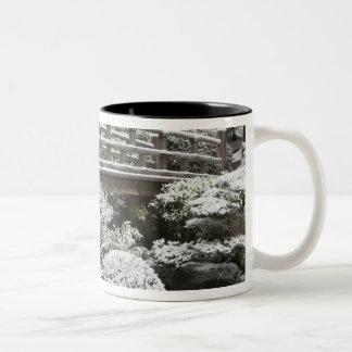 Snowfall in Portland Japanese Garden, Two-Tone Coffee Mug