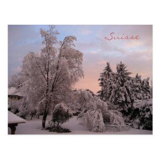 Snowfall in Switzerland Post Card