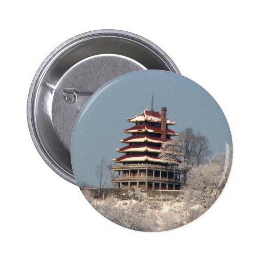 Snowfall on the Pagoda Pinback Buttons