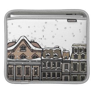 Snowfall over a city iPad sleeve