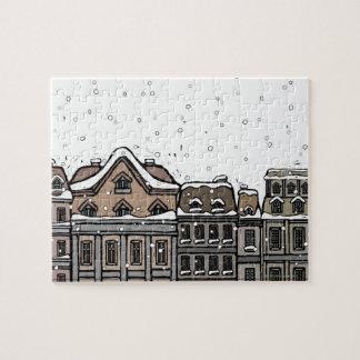 Snowfall over a city jigsaw puzzle