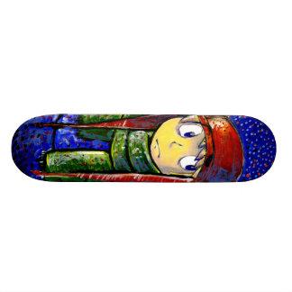 Snowfall Starlight Boy Painterly Illustration Custom Skate Board