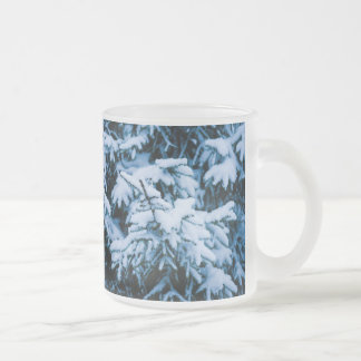 Snowfall Winter Christmas Tree Frosted Glass Coffee Mug