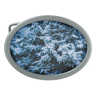 Snowfall Winter Christmas Tree Oval Belt Buckle