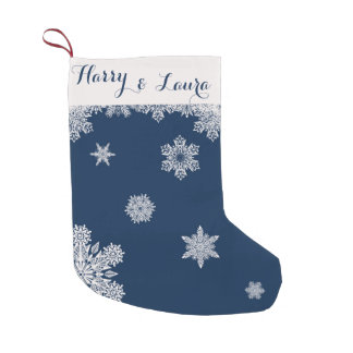 Snowfall Winter Stocking with Custom Name & Date Small Christmas Stocking