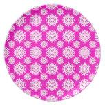 Snowflake 11 Pink Dinner Plate